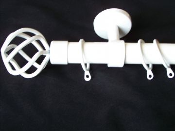 28mm Gloss White Ceiling Hung Curtain Pole with Twisted Cage Finials 1.2m 1.5m 2.4m 3m